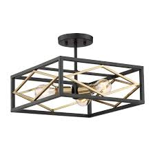 quoizel platform 14 in w black with gold no glass semi flush mount light