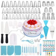 170 Pcs Cake Decorating Supplies Kit Baking Supplies Set With Icing Piping Tips Russian Nozzles With Pattern Chart Rotating Turntable Stand