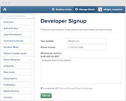 insram developer signup