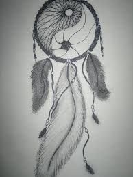 Dream Catchers Sketches own drawing dream catcher ying and yang feathers beads pretty 12