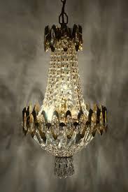 Zierlicher Deckenleuchter Lüster Kronleuchter Kristall Midentury 1940 Korblüster