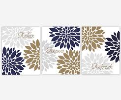 >navy blue gray bath wall art spa bath bronze flowers flower bursts  navy blue gray bath wall art spa bath bronze flowers flower bursts dahlias relax refresh renew