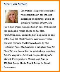 artist bio exles lori 20bio 20screenshot jpg caption