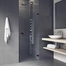 frameless pivot shower door with hardware in