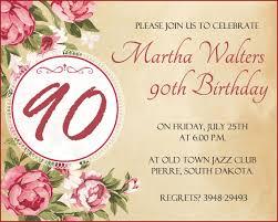 words invitation 90th birthday invitation wording 365greetings com