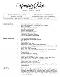 Resume Description Examples Front Desk Agent Resume Hotel Manager Job Description Position 43