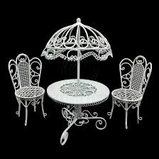 dollhouse outdoor furniture. set white wire garden umbrella table chair 112 dollu0027s house dollhouse furniture outdoor n