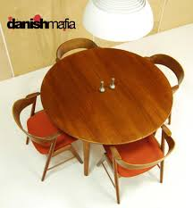 mid century danish modern oval teak dining table w  leaves