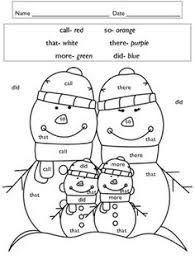 Word Family Coloring Pages Sight Word Winter Coloring Pages