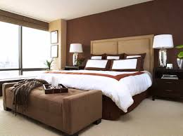 bedroom outstanding bedroom design with brown accent wall color and drum shape white table lamp