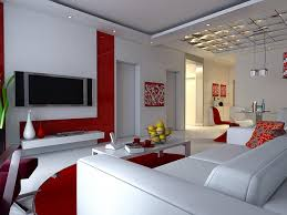 Futuristic white living room with red accents and white marble flooring - living  room decor |
