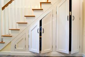 Exciting White Wooden Staircase Design with Simple Railings featuring  Minimalist Under Stairs Storage Inspirations .