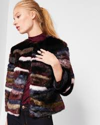 ted baker robarla multi coloured faux fur jacket with maroon b18i4099 ted