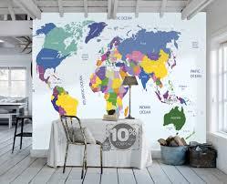 children s world map wallpaper removable wall mural animal inside