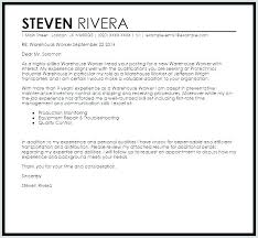 Warehouse Inventory Cover Letter Warehouse Cover Letter Cover Letter