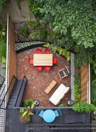 Outdoors:Awesome Small Backyard Design With Circular Pattern Brick Patio  And Small Table Set Also