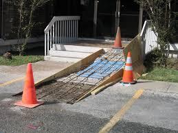 concrete wheelchair ramp installation parking lot repair