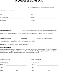 3 Snowmobile Bill Of Sale Free Download