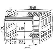 Výsledek obrázku pro domestav patrová postel lada pravá