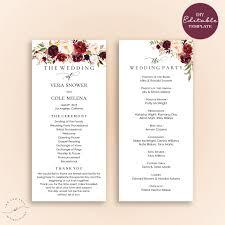 Ceremony Template Editable Wedding Program Template Order Of Ceremony