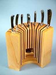 Creative Idea:Kitchen Accesories With Curved Brown Solid Wood Knife Holder  Create Innovative Knife Holders