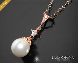 white pearl rose gold necklace swarovski pearl bridal necklace wedding pearl pink gold necklace pearl drop necklace bridesmaids jewelry 29 00 usd