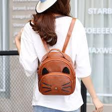 <b>2017 Women Cartoon Cute</b> Cat Printed Backpack Girls Pu Leather ...