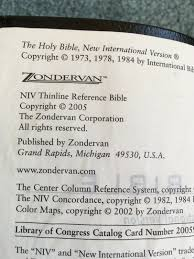 Niv Thinline Reference Bible 2005 Leather