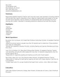 Preschool Teacher Assistant Sample Resume Preschool Teacher