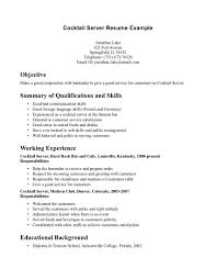Bartender Server Resume Server Resume Summary Samples How To Write A