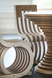 Detail of Cardboard Table Clessidra and Cardboard Chair Twist, made of  cardboard with MDF/