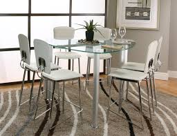 contemporary counter height glass dining table