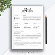 Modern Resume Template Simple Cv Template Professional Resume Design Cover Letter Ms Word Instant Download The Abigail Resume