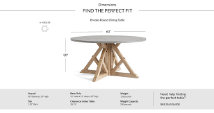 dimensions table brooksround brooks round dining table seadrift v2