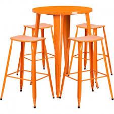 nicollet round 30 orange metal indoor outdoor table set w 4 saddle