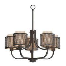 summit collection 5 light bronze mesh chandelier with inner cream