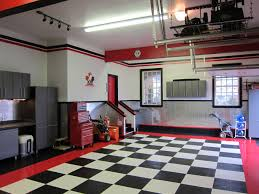 modern garage decors with cool checd floor tiled ideas with red lines accent wall painted color also space saving tools storage designs