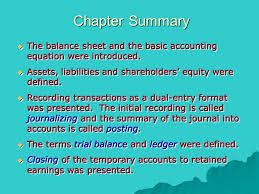 chapter summary the balance sheet and the basic accounting equation were introduced assets liabilities