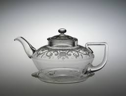 Designer Glass Teapot Engraved Pyrex Teapot With Lid And Underplate Frederick