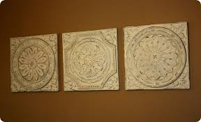vintage tin tiles wall art