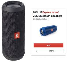 speakers in target. (ends today 4/16) target shoppers! through only, you can load this new 20% off jbl bluetooth speakers cartwheel. you\u0027ll be able to use it in-store in e