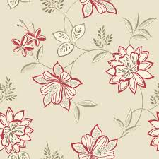 Lexie Red Floral Wallpaper | Departments | DIY at B&Q
