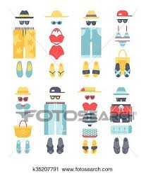 Summer Icons Beachwear Different Flat Vector Summer Icons Beachwear