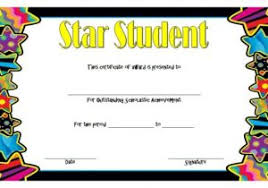 Star Student Certificates Star Student Certificate Template Free Star Awards Templates