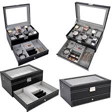 box jewelry display case with glass top drawer