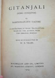 gitanjali close up of yellowed title page in an old book gitanjali song gitanjali title page author rabindranath tagore