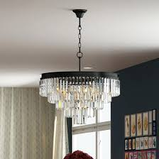 odeon glass fringe chandelier 5 tier crystal glass fringe chandelier flush mount ceiling chrome lighting in
