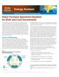 Power Purchase Agreement Checklist For State And Local Governments ...