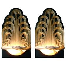 pair of art fountain sconces wall lights theater lamps circa for deco lighting nz art deco wall lighting