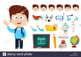 Design Your Character Boy Cartoon Character Cute Boy Set Of Body Parts Emotions